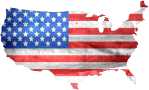 american flag in the shape of the united states continent