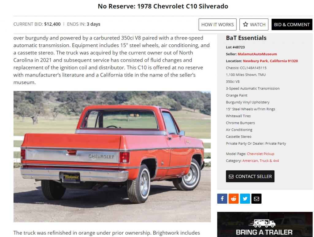 Chevy C10 bring a trailer